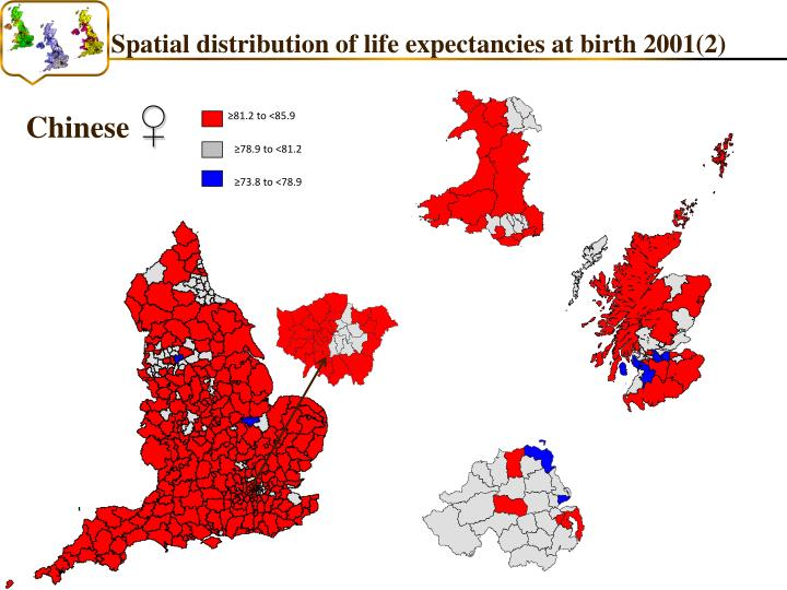 Spatial distribution of life expectancies at birth 2001(2)