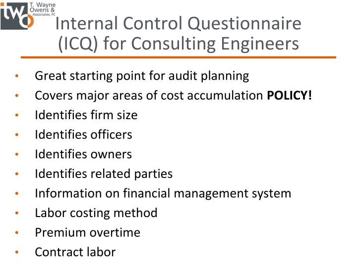 Internal Control Questionnaire (ICQ) for Consulting Engineers