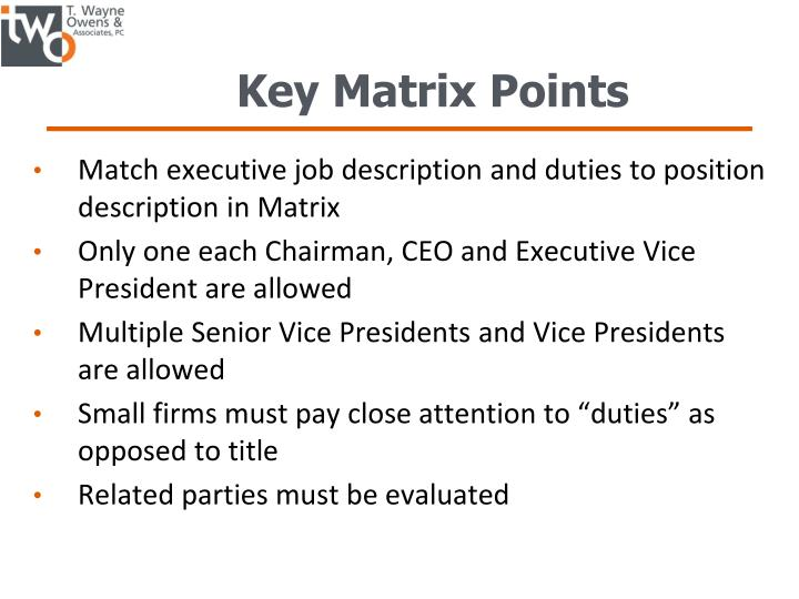 Key Matrix Points