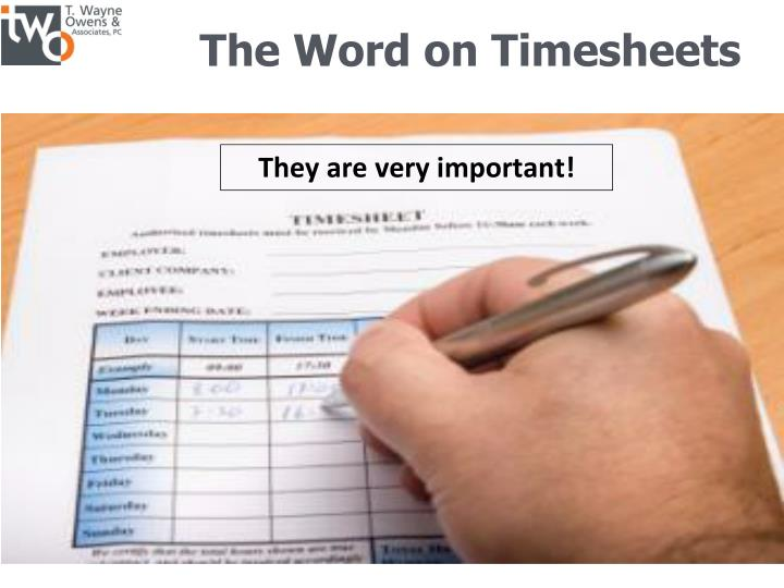 The Word on Timesheets