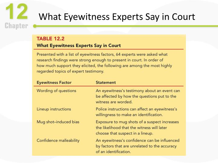 What Eyewitness Experts Say in Court