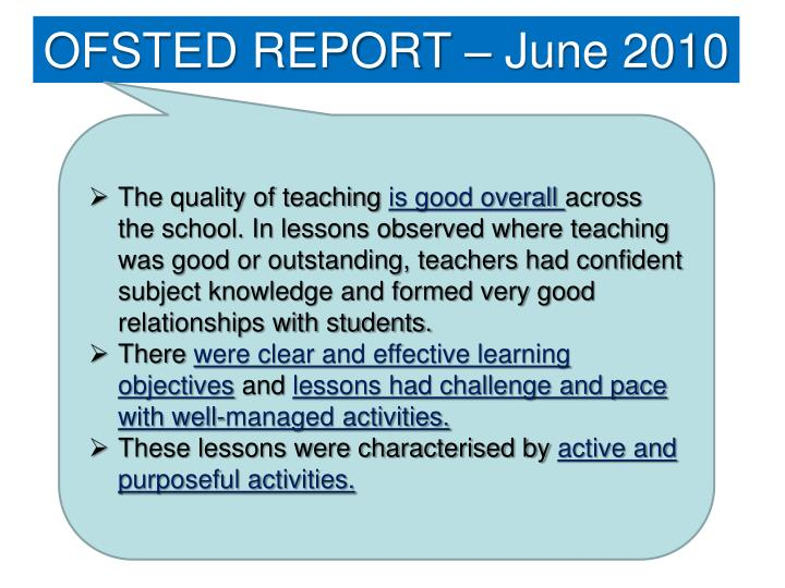 powerpoint ofsted report essay Successful science  the report evaluates the strengths and weaknesses of science in primary and  publications by ofsted 54.