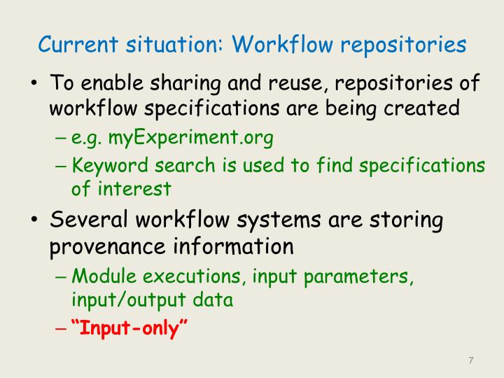 Current situation: Workflow repositories