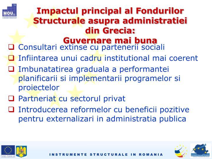Impactul principal al Fondurilor Structurale asupra administratiei din Grecia: