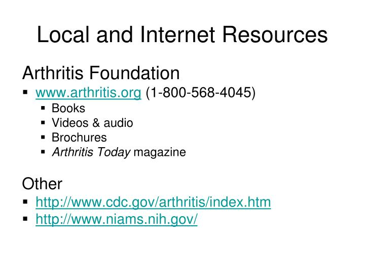 Local and Internet Resources