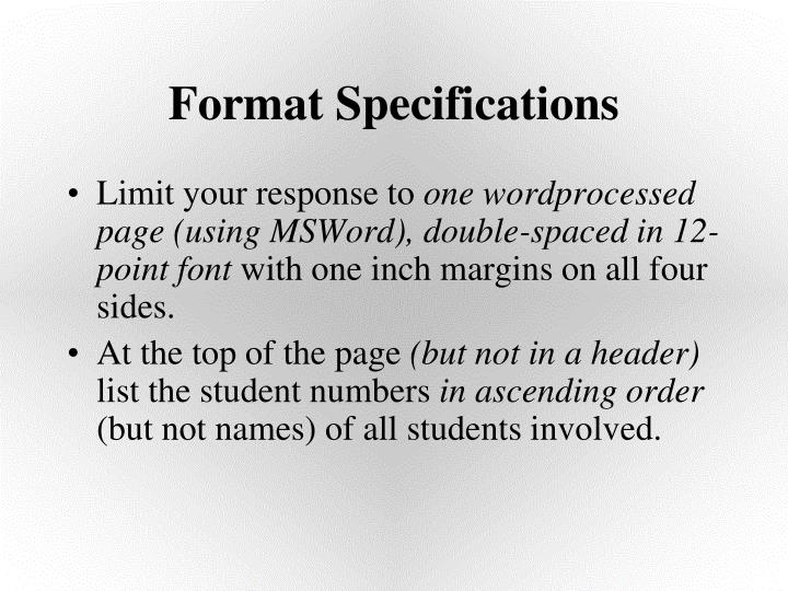 Format Specifications
