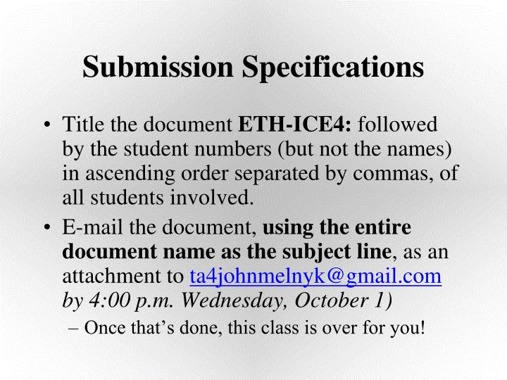 Submission Specifications