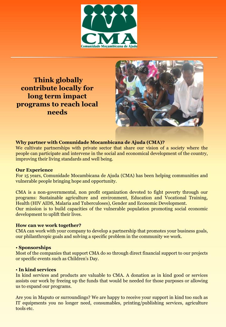 Think globally contribute locally for long term impact programs to reach local needs