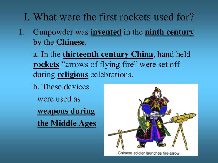 I what were the first rockets used for