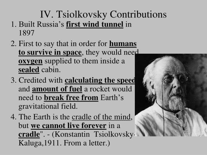 IV. Tsiolkovsky Contributions