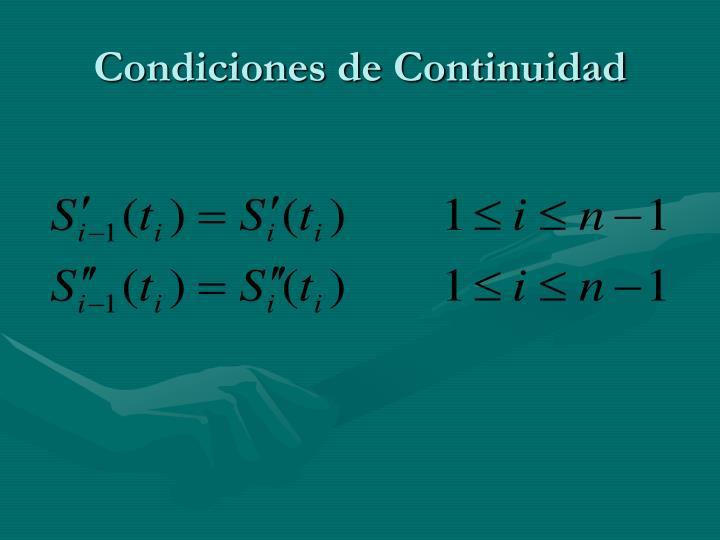 Condiciones de Continuidad