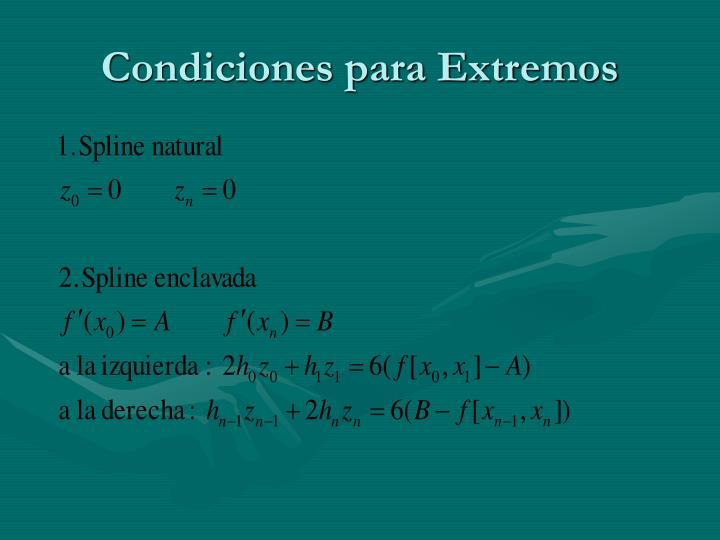 Condiciones para Extremos
