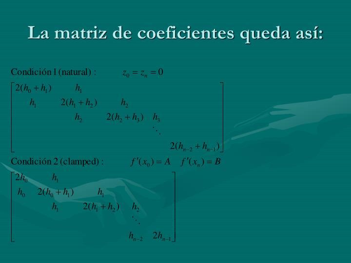 La matriz de coeficientes queda así: