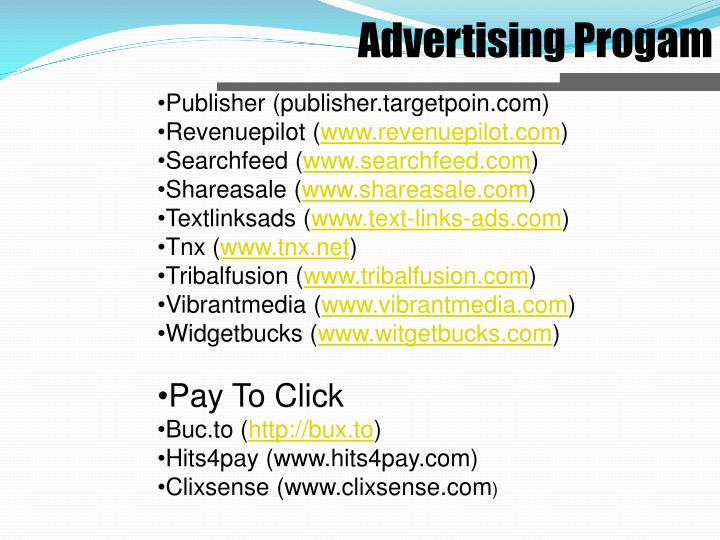 Advertising Progam