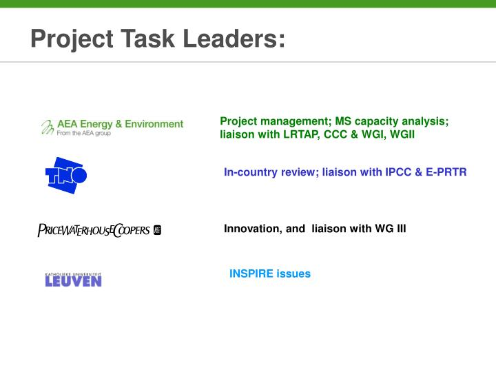 Project Task Leaders: