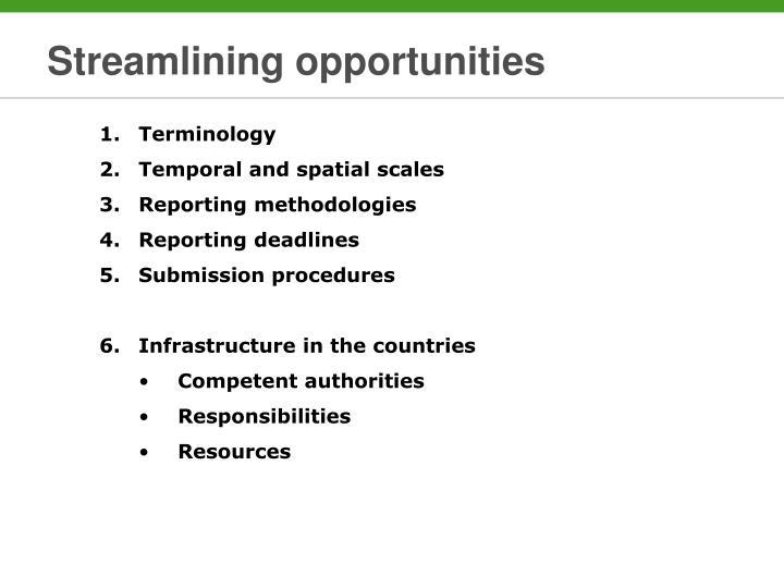 Streamlining opportunities