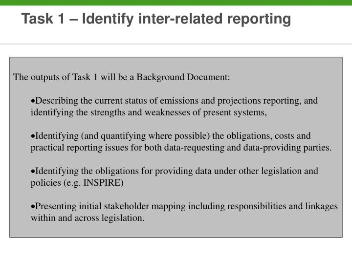 Task 1 – Identify inter-related reporting