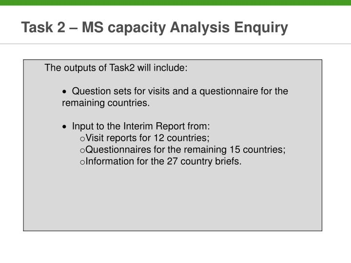 Task 2 – MS capacity Analysis Enquiry