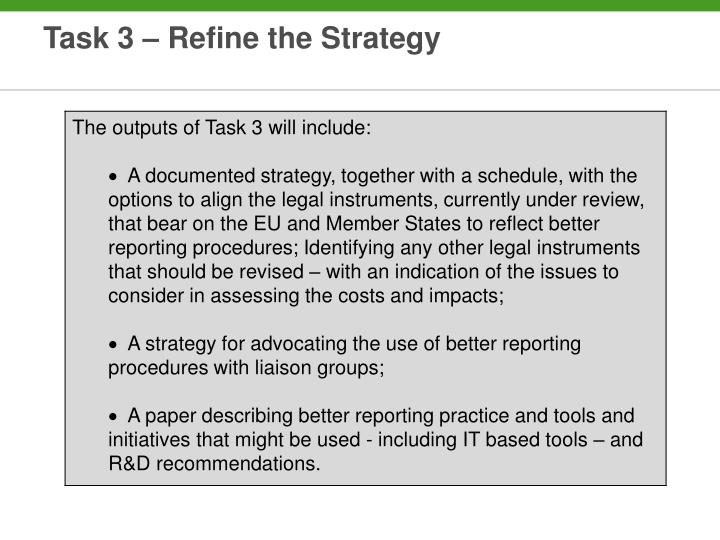 Task 3 – Refine the Strategy