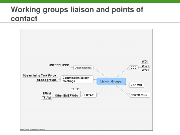 Working groups liaison and points of contact