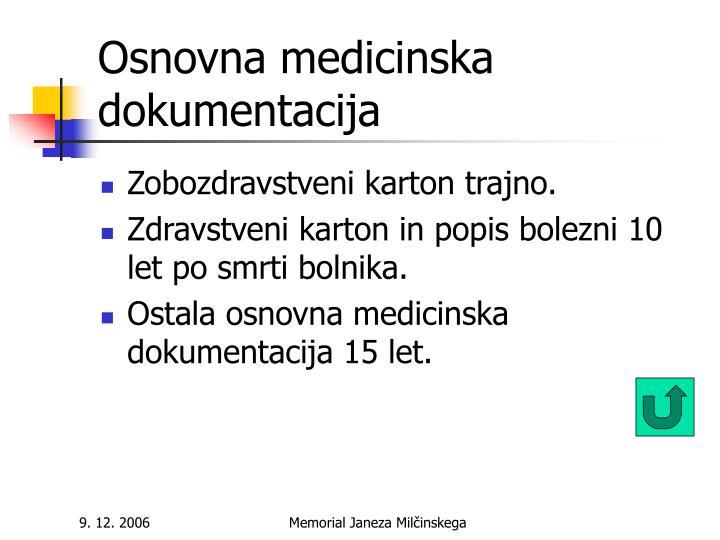 Osnovna medicinska dokumentacija