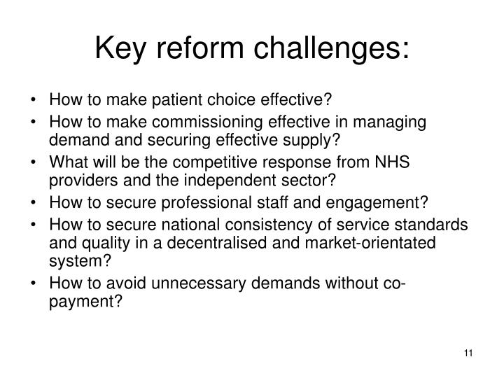 Key reform challenges: