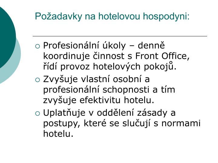 Požadavky na hotelovou hospodyni: