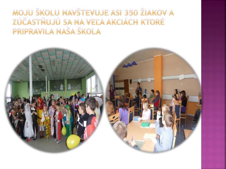 Moju školu navštevuje asi 350 žiakov a zúčastňujú sa na veľa akciách ktoré
