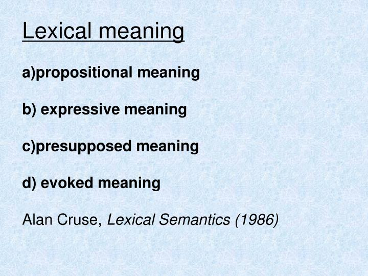 Lexical meaning