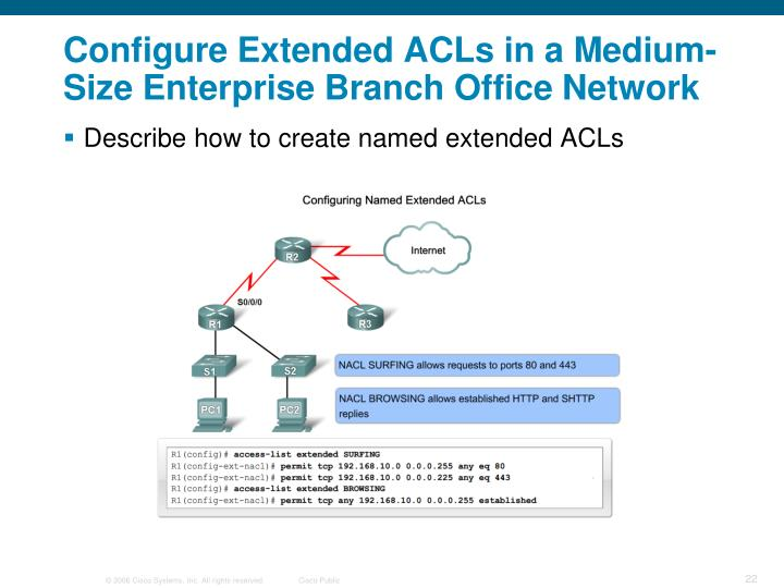 Configure Extended ACLs in a Medium-Size Enterprise Branch Office Network