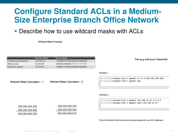 Configure Standard ACLs in a Medium-Size Enterprise Branch Office Network