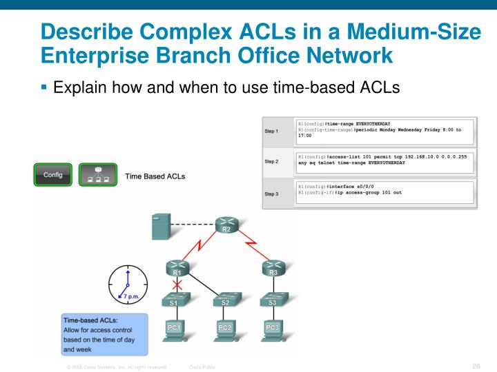 Describe Complex ACLs in a Medium-Size Enterprise Branch Office Network