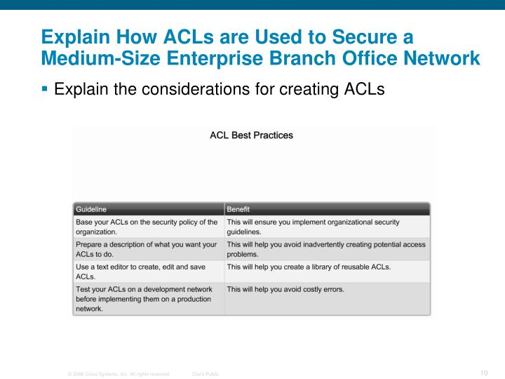 Explain How ACLs are Used to Secure a Medium-Size Enterprise Branch Office Network