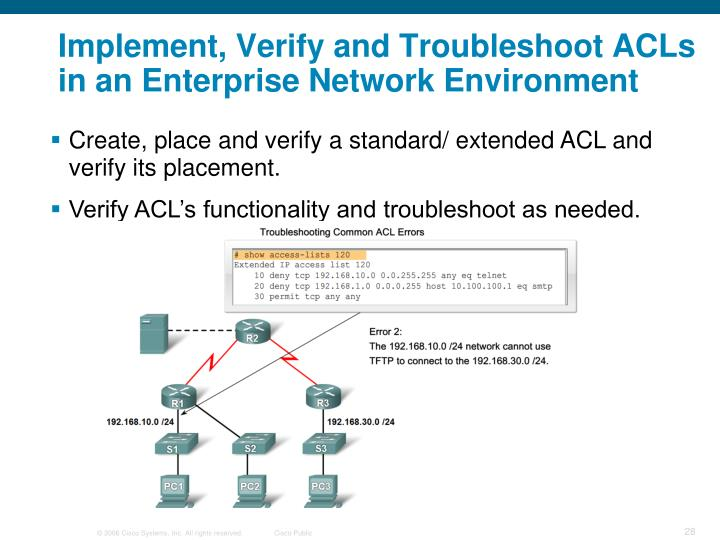 Implement, Verify and Troubleshoot ACLs in an Enterprise Network Environment