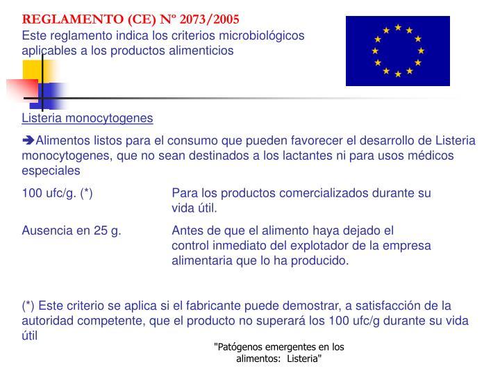 REGLAMENTO (CE) Nº 2073/2005