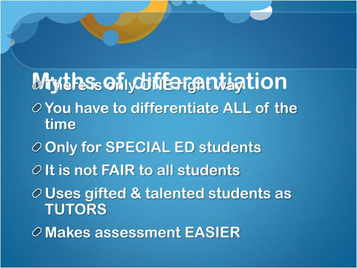 Myths of differentiation