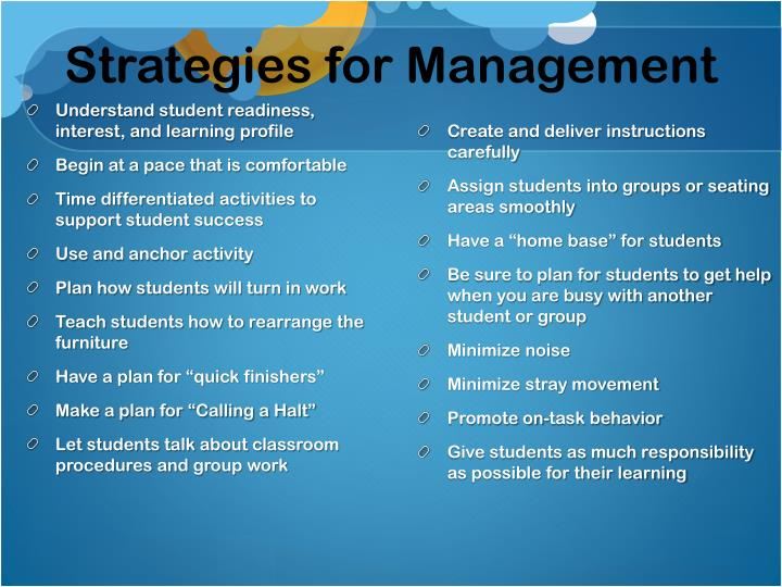 Strategies for Management