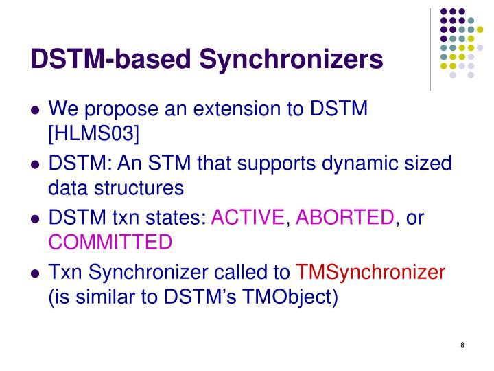 DSTM-based Synchronizers