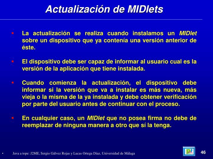 Actualización de MIDlets