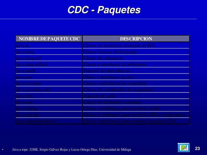 CDC - Paquetes