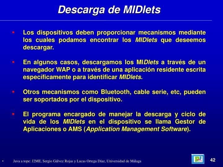 Descarga de MIDlets