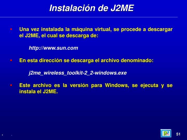 Instalación de J2ME