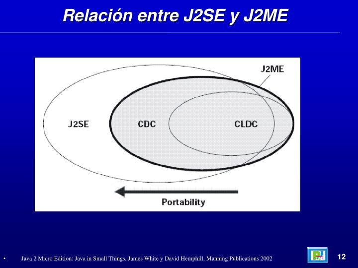 Relación entre J2SE y J2ME