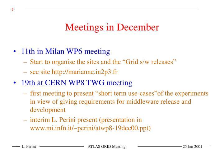 Meetings in December