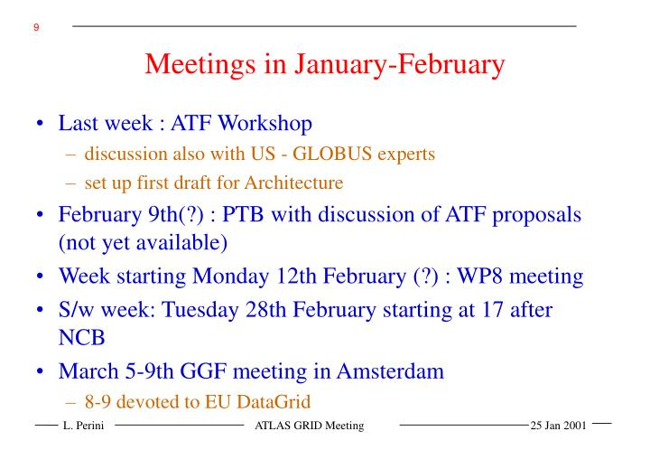 Meetings in January-February