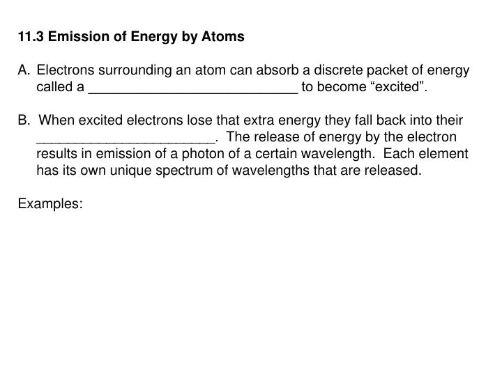 11.3 Emission of Energy by Atoms