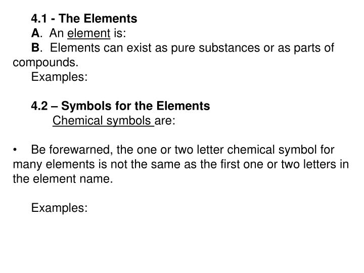 4.1 - The Elements