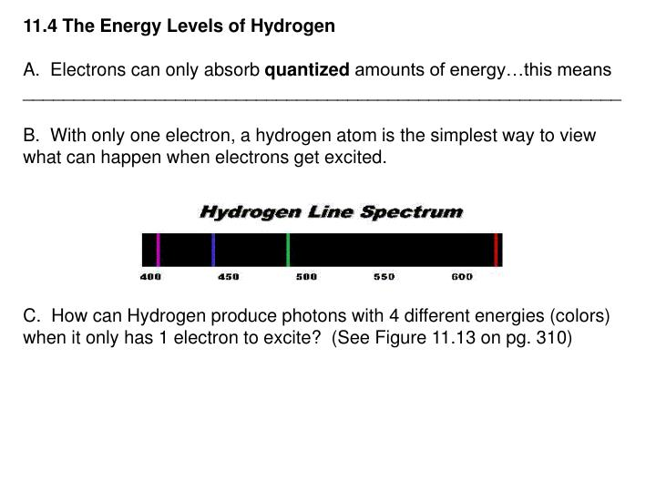 11.4 The Energy Levels of Hydrogen