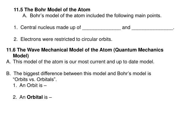 11.5 The Bohr Model of the Atom