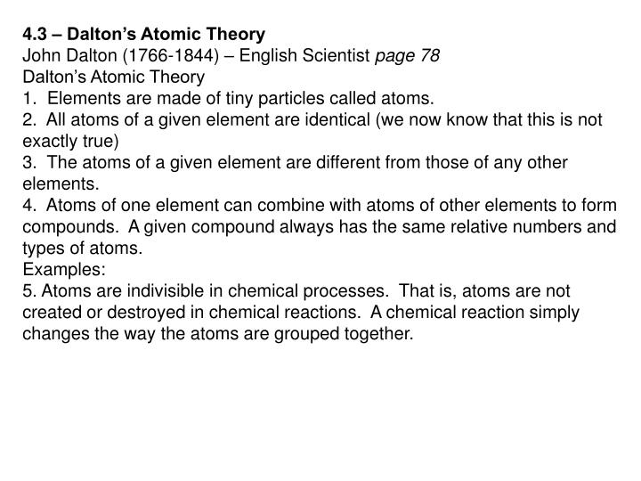 4.3 – Dalton's Atomic Theory